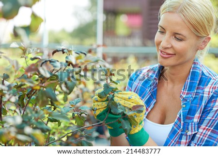 Pretty farmer taking care of her plants in the garden - stock photo