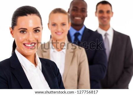 pretty female corporate worker and team on white - stock photo