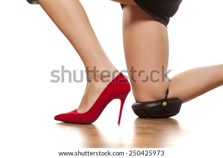 pretty female legs with high heels, kneeling with knee protectors - stock photo