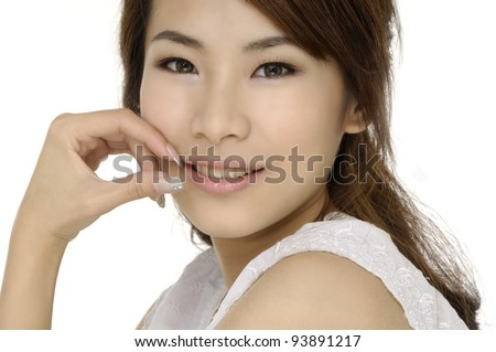 pretty female model smiling ,isolated - stock photo
