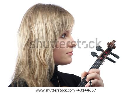 Pretty female violinist over white background - stock photo
