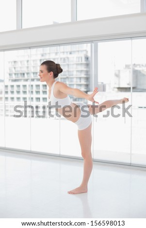 Pretty fit brown haired model in sportswear doing fitness exercises in bright fitness studio - stock photo