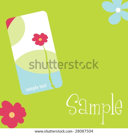 pretty floral stationary set with business card idea - stock photo
