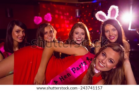 Pretty friends on a hen night at the nightclub - stock photo