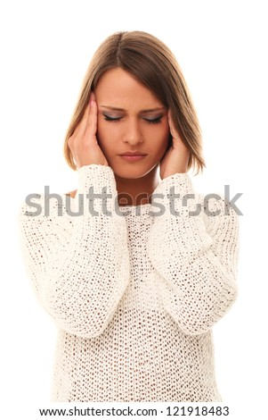Pretty girl have headache isolated on a white background - stock photo