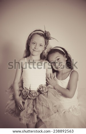 Pretty girl in a gorgeous tutu. - stock photo