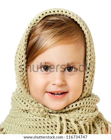 Pretty girl in green knitted warm shawl, isolated over white - stock photo