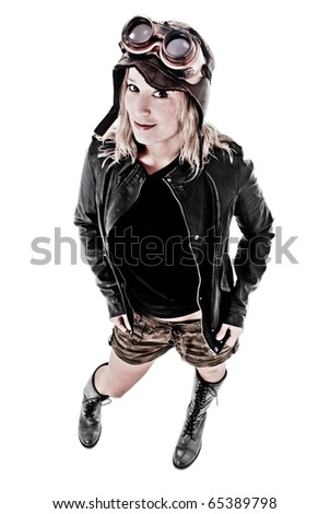 Pretty girl in Grunge Steam Punk outfit - stock photo