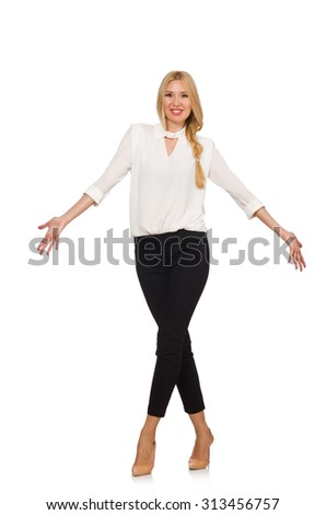 Pretty girl in office attire isolated on white - stock photo