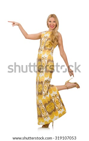 Pretty girl in yellow floral dress isolated on white - stock photo