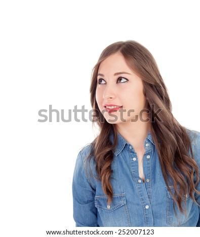 Pretty girl make up with brown eyes looking up isolated on a white background - stock photo