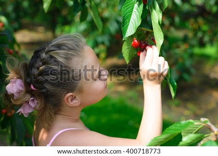 Pretty girl  picks a cherry from a tree in cherry garden  - stock photo