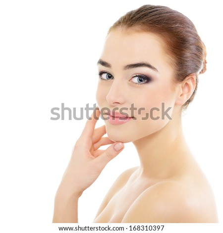 Pretty girl portrait, young beautiful woman with clean skin, healthcare and body care - stock photo