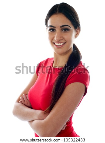 Pretty girl posing arms crossed isolated on white - stock photo