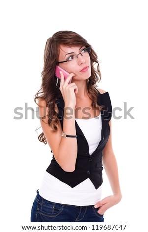 Pretty girl talking on mobile phone, white background - stock photo
