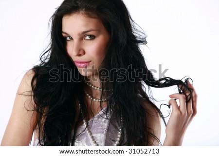 Pretty girl with a lilac dress portrait - stock photo
