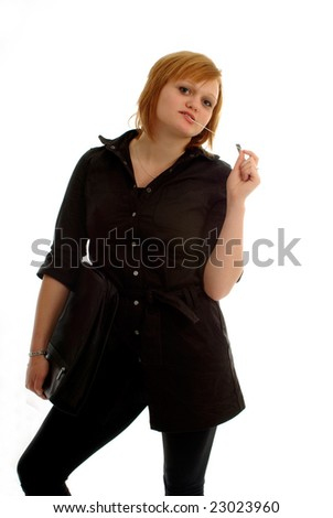 Pretty girl with binder and pen ready for school or meeting - stock photo
