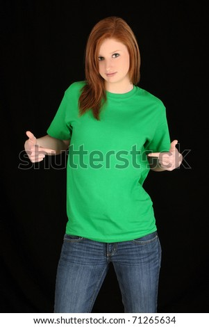 Pretty girl with blank green t-shirt - stock photo