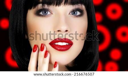 Pretty girl with bright makeup  - stock photo
