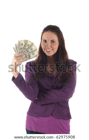 Pretty girl with dollars (on white background) - stock photo