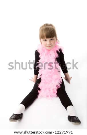 Pretty girl with pink neck-piece on a white background. - stock photo