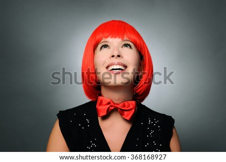 pretty girl with red hair - stock photo
