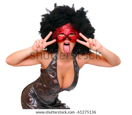 Pretty girl with red mask and afro hair-style dressed in luxury retro costume. - stock photo
