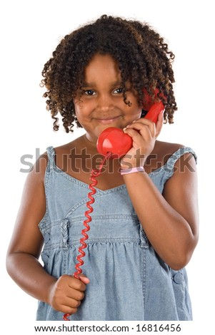 Pretty girl with red phone a over white background - stock photo