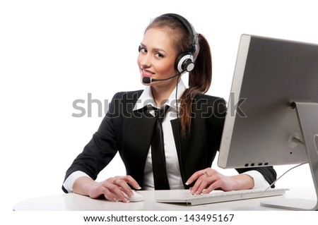 pretty girl works at the computer - stock photo