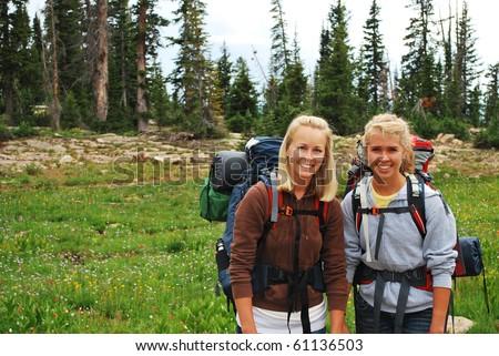 Pretty Girls Going Camping - stock photo