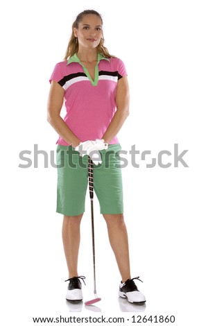 pretty golf woman posing on white isolated background - stock photo