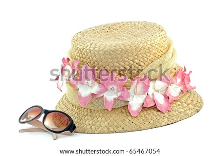 Pretty hat and pair of sunglasses - stock photo