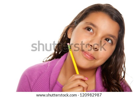 Pretty Hispanic Girl Thinking with Pencil Isolated on a White Background. - stock photo