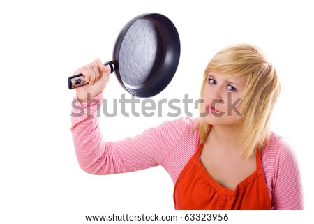 pretty housewife with pan on isolated on white background - stock photo