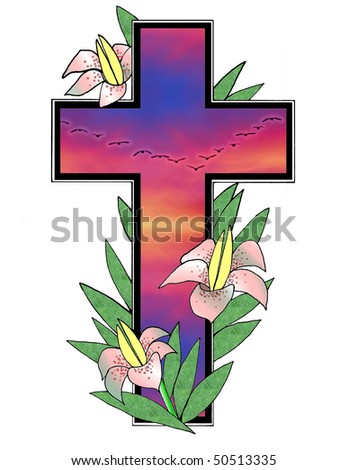 Pretty illustration with Easter lilies , birds ,sunset sky and cross over white background .Useful holiday design element . - stock photo