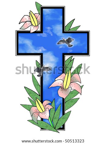 Pretty illustration with Easter lilies , doves , sky and cross over white background .Useful holiday design element . - stock photo
