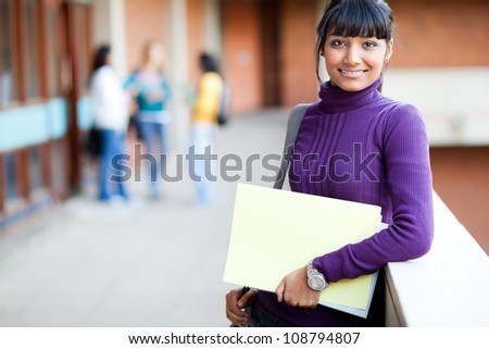 pretty indian college girl portrait - stock photo