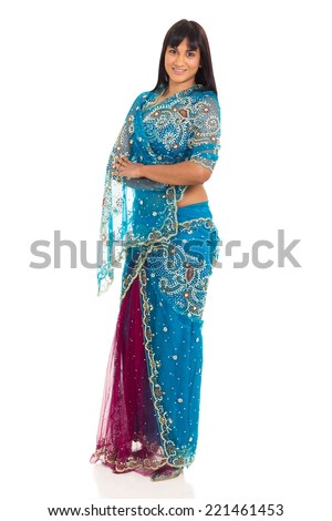 pretty indian lady posing in saree isolated on white background - stock photo