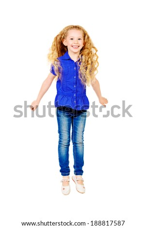 Pretty joyful girl with a beautiful long hair smiling at camera. Isolated over white. - stock photo