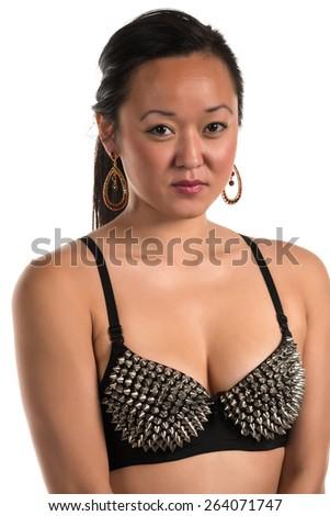 Pretty Korean woman in a black bra - stock photo