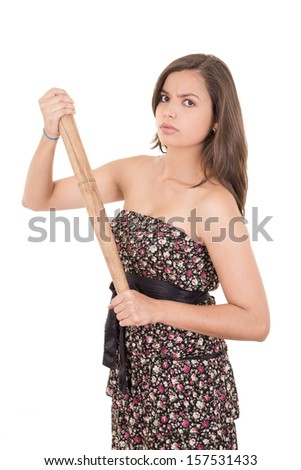 Pretty lady with a baseball bat, isolated on white background - stock photo