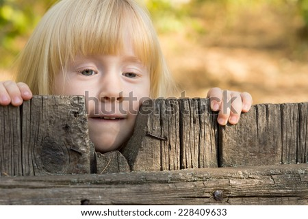 Pretty little blond girl peering over an old rustic wooden fence with a thoughtful expression - stock photo
