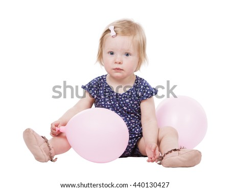 pretty little caucasian girl on white isolated background - stock photo
