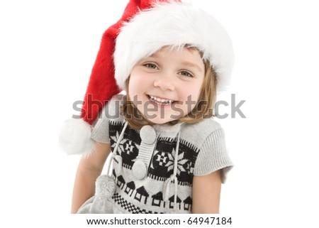 Pretty little girl dressed like a santa claus - stock photo