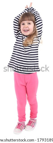 Pretty little girl isolated on white - stock photo