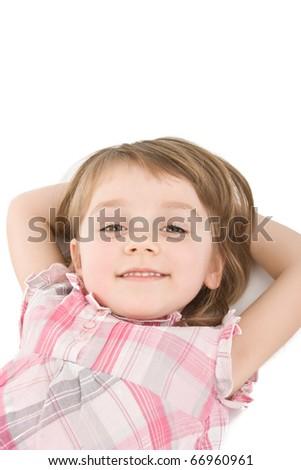 Pretty little girl on white. - stock photo