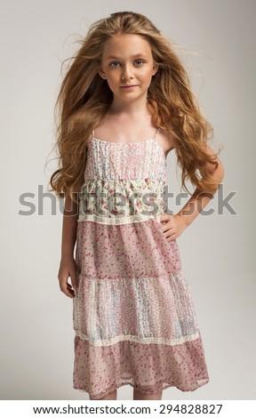 Pretty little girl posing - stock photo