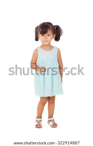Pretty little girl with blue dress isolated on a white background - stock photo