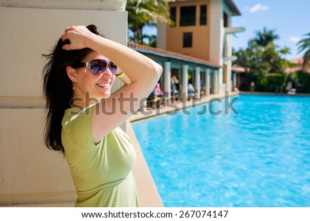 Pretty middle age woman outdoor portrait. - stock photo