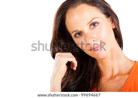 pretty middle aged woman closeup portrait - stock photo